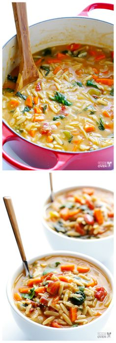Italian Orzo Spinach Soup -- simple, comforting, and so good | gimmesomeoven.com #soup #recipe