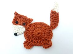 Rust coloured crochet applique fox cards by MyfanwysAppliques …
