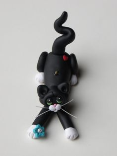 Polymer Clay Tuxedo Cat Ornament Figurine by HeartOfClayGirl,