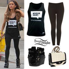 Cute graphic top black pants tennis shoe heels