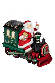 Waterford 2015 Holiday Heirlooms Ceramic Cookie Jar Santa on Train.  At Waterford Wedgwood Royal Doulton, Tanger Outlets, San Marcos, TX or call 1-800-203-4540 or 512-396-4025.  We ship.