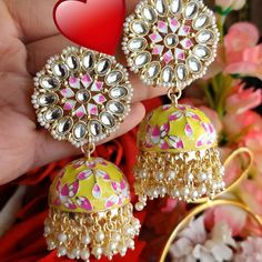 Photo by Neenju's collections on March can find Wedding jewelry and more on our website.Photo by Neenju's collections on March Indian Jewelry Earrings, Jewelry Design Earrings, Indian Jewellery Design, Wedding Jewelry, Diamond Earrings, Crochet Earrings, Chokers, Bangles, Bag