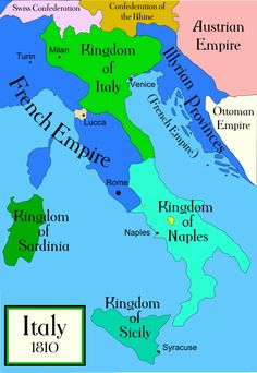 Italy c 1810 - Italian unification - Wikipedia, the free encyclopedia Kingdom Of Naples, Kingdom Of Italy, Albania, Italian Unification, Lucca, Greece Today, All About Italy, Geography Map, Italy Map