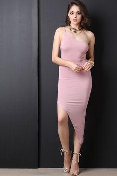 Asymmetrical One Shoulder Bodycon Dress