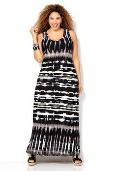 BLK/NEUTRAL PRINT TANK MAXI, Black White