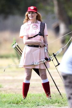"""Geena Davis is over six feet tall, belongs to Mensa, nearly made the US Olympic archery team, speaks multiple languages, starred in """"A League of Their Own"""" and is from Massachusetts. She is my favorite."""