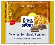 RITTER SPORT Fake Schokolade Wiener Schnitzel Pommes