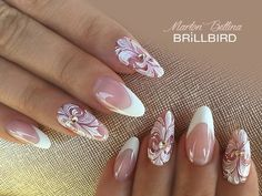 25 Ideas For Bridal Nails Designs Gel French Tips Classy Nails, Fancy Nails, Stylish Nails, Pink Nails, Cute Nails, Pretty Nails, Bridal Nails Designs, Wedding Nails Design, Gel Nail Designs
