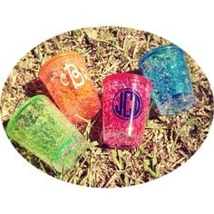 Chiller shot glasses! And of course we'd monogram them! #monogram #shotglass #springbreak