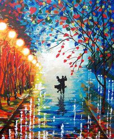 dancing+in+the+rain+canvas+paintings | ... rain - Acrylic Contemporary Art - Dancing Couple - Night Rain Painting