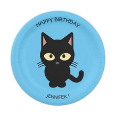 Cute black cat cartoon blue birthday kids name paper plate