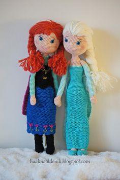Avontuur met een haaknaald..Gehaakte knuffels en nog meer!: FROZEN ANNA & ELSA haakpatroon crochetpattern