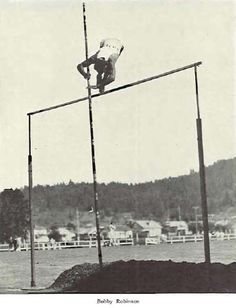 Bobby Robinson pole-vaulting at Hayward Field 1930.  From the 1930 Oregana (University of Oregon yearbook).  www.CampusAttic.com