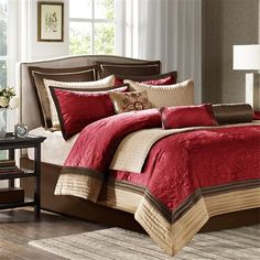 For the more traditional bedroom, spruce up your décor with a pop of color in the Juliana Comforter Set. Made from polyester quilted charmeuse, this decorative collection features chocolate brown, deep red and gold accents. Includes three decorative pillows which play up embroidered details for a finished look. Two euro shams give a dramatic backdrop to this striking collection.