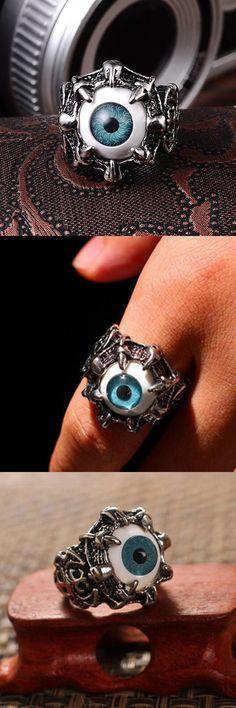 [Visit to Buy] Men's Vintage Dragon Claw Evil Eye Skull Ring Stainless Steel Biker Ring Devil Eyeball Halloween Party Props Men Jewelry #Advertisement