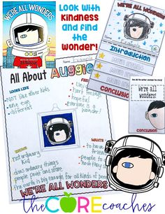 """Lesson plans and classroom activities inspired by Auggie's adventures in the book """"We're All Wonders"""" by R.J. Palacio. Teach students to find the wonder in their classmates with these lesson ideas. By the Core Coaches"""