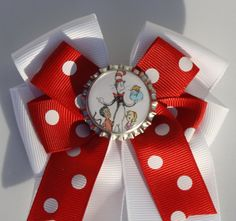 Cat in the Hat Dr Seuss Bow Cat in the hat Hair Bow by bowsforme, $6.00