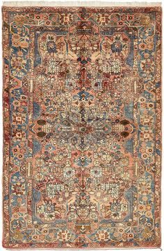 This Authentic Persian Nahavand rug is <strong>Hand Knotted in Iran</strong> of 100% Natural Wool and has <strong>180 knots</strong> per square inch.  Colors found in this rug include: Peach, Blue, Burgundy, Green, Olive, Tan, Pink. The primary color is Peach.   This rug is in Very Good  condition, with minor blemishes (Abrash). Further details can be seen in the pictures   The measurements for this rug are: 5 feet 1 inches wide by 7 feet 10 inches long.