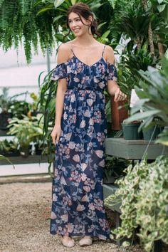 Laurel Floral Cold Shoulder Maxi Dress - navy-cl