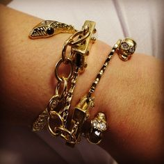 Just your typical Friday of snakes, handcuffs and skulls. Did I mention I am in love with #jenniferfisherjewelry? @jfisherjewelry #bracelets #jewelry #bling