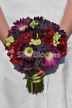 Beautiful Artificial Purple Gerbera, Calla Lily, Allium and Burgundy Rose Wedding Bridal Bouquet - Silk Flowers #artificialflowers #wedding #weddingflowers #bouquet #flowers #bridalbouquet #silkflowers #gerberas #roses #callalilies