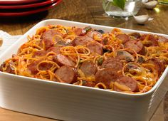 Johnsonville Baked Smoked Sausage Spaghetti Casserole: Next time I will use mozz or white american cheese