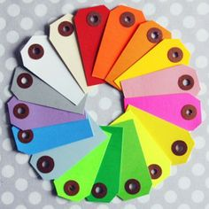 Paper shipping tags in beautiful, bright colours.