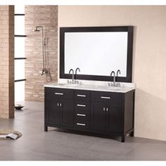 @Overstock - Update your bathroom decor with a solid oak wood cabinet in a black finishBathroom furniture features a carrera white marble counter top with super-thick edgeFurniture piece features polished chrome 8-inch wide spread faucetshttp://www.overstock.com/Home-Garden/Design-Element-Solid-Wood-61-inch-Double-sink-Bathroom-Vanity-Set/4469896/product.html?CID=214117 $1,874.89