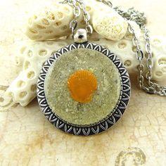 Orange Scallop Seashell Pendant Necklace by FloridaShellGirlShop
