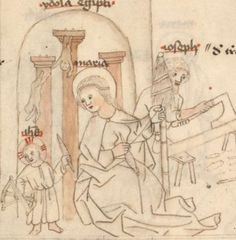 Mary spinning while a very young Jesus winds yarn off onto a niddy noddy, Upper Palatinate, 2nd (?) Quarter of the 15th Century. Munich BSB Clm 28141 -