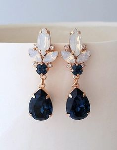 Navy blue earrings,White opal earrings,Bridal earrings,Chandelier earrings,Rose gold earrings,Bridesmaid gift,Blue white opal earrings