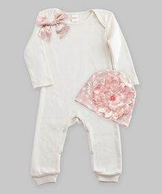 This Ivory & Rose Filigree Bow Romper & Floral Beanie by Truffles Ruffles is perfect! #zulilyfinds