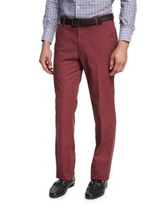 Peter Millar SOFT TOUCH TWILL PANTS, WINE. #petermillar #cloth #
