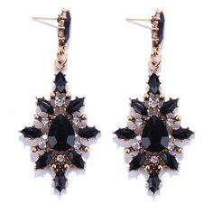 Pair of Water Drop Rhinestone Embellished Earrings - BLACK