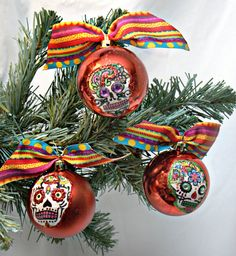 3 RED Sugar Skull Christmas Ornaments MULTI Ribbon by LilBittyFish, $18.00---could make my own with stickers