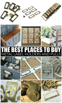 The ultimate guide for unique and affordable metal label holders, pulls and locker tags. do # do it yourself projects for home Furniture Projects, Furniture Makeover, Diy Furniture, Diy Projects, Repurposed Furniture, Furniture Design, Locker Tags, Diy Locker, Vintage Lockers