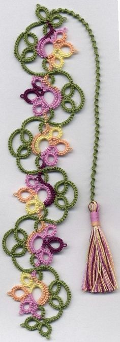 Tatting, Beading and Needlework: Flowery Bookmark. Comes with link to free pattern! New http://link-www.janeeborall.com