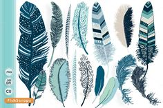 Tribal Feather ClipArt - Ocean Blue