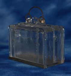ANTIQUE 1906 WESTMORELAND GLASS SUITCASE CANDY CONTAINER w/ SLIDE BASE & HANDLE #WESTMORELANDGLASS