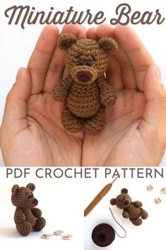 Mini Amigurumi Bear Crochet Pattern - - Amigurumi is one of my favourite things to make to give as a gift! It's so fun to be able to make your own stuffed animals. And the great thing about mini amigurumi is that the projects come …. Crochet Pattern Free, Pattern Cute, Crochet Bear Patterns, Crochet Motifs, Crochet Animals, Knitted Toys Patterns, Crochet Stuffed Animals, Free Amigurumi Patterns, Animal Knitting Patterns