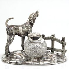 Pasarel - Novelty English Silver Plated & Cut Glass Hound Dog Inkwell Inkstand. $295.00