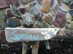 Reclaimed Driftwood Painted Spring Sign by MaineCoastCottage, $26.50
