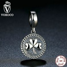 Vintage 925 Sterling Silver Clover Round Shaped Pendant fit Pandora Beads & Jewelry Makings Accessories C039