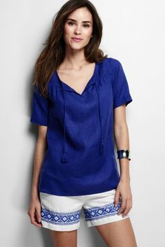 Women's Elbow Sleeve Linen Blouse from Lands' End