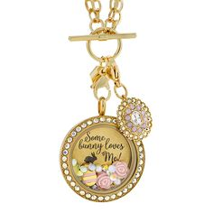 Let someone know that Some Bunny Loves them.. even if that someone is you!  Beautiful new AB crystal locket in gold.  Part of the Easter 2017 collection.  View and shop the collection at https://rosag.origamiowl.com/shop/collections/easter