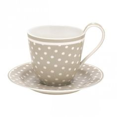 Cup & Saucer in Beige Forever Living Products, Beige, Cup And Saucer, Grey And White, Tea Time, Tea Cups, Shabby Chic, Polka Dots, Mugs