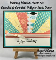 Stampin' Up Birthday Blossoms stamp set and Cupcakes & Carousels Designer Series Paper were used to make this sunburst card.  This is from my What To Do With Scraps class.