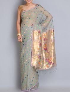 Grey-Multicolor Handwoven Kota Silk Saree with Paithani Palla by Manish Saksena