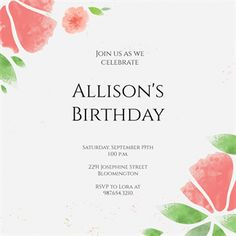 Watercolor Petals printable invitation template. Customize, add text and photos.  Print, download, send online or order printed!