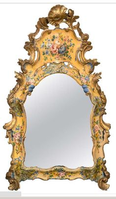 18th Century Italian Venetian Lacquered Mirror | From a unique collection of antique and modern wall mirrors at www.1stdibs.com/...